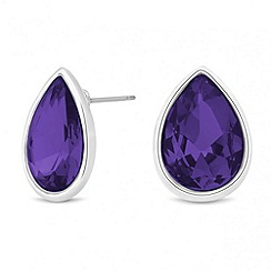 Jon Richard - Purple crystal peardrop stud earring