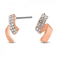 Jon Richard - Rose gold crystal twist stud earring