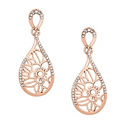 Jon Richard - Rose gold filigree flower peardrop earring