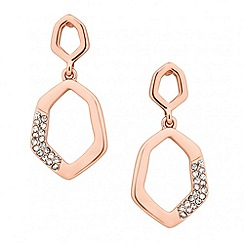 Jon Richard - Rose gold crystal encased angular drop earring