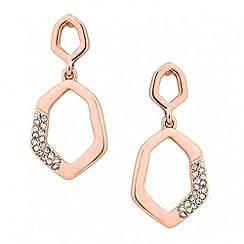 Jon Richard - Rose gold crystal encased angular drop earring
