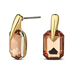 Jon Richard - Rectangular Orange Crystal Stud Earring