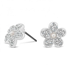 Jon Richard - Pearl and crystal flower stud earring