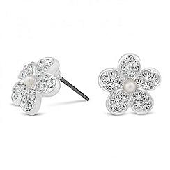 Jon Richard - Pearl and crystal flower stud earring