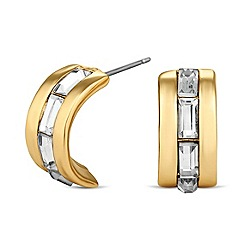 Jon Richard - Baguette crystal encased half hoop earring