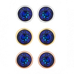 Jon Richard - Bermuda blue crystal stud earring set MADE WITH SWAROVSKI ELEMENTS
