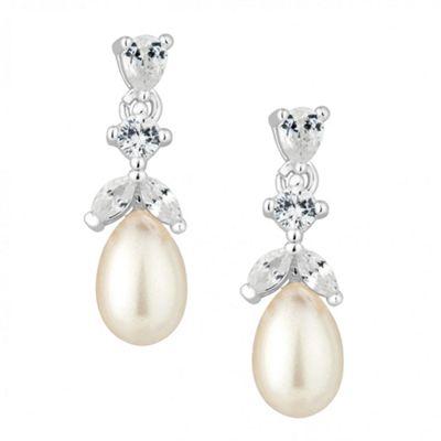Alan Hannah Devoted Designer cubic zirconia cluster pearl drop earring - . -