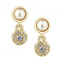 Jon Richard - Pearl and crystal round drop earring