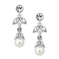 Jon Richard - Crystal leaf and pearl drop earring