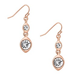 Jon Richard - Double rose gold crystal drop earring