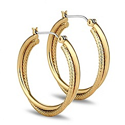 Jon Richard - Polished gold textured twist hoop earring