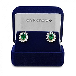 Jon Richard - Online exclusive green cubic zirconia gold stud earring