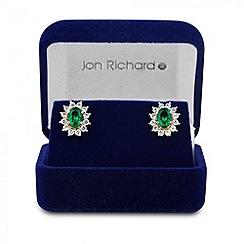 Jon Richard - Online exclusive green cubic zirconia gold stud earring