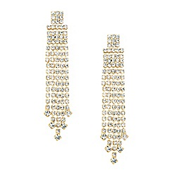 Jon Richard - Diamante crystal gold tassel drop earring