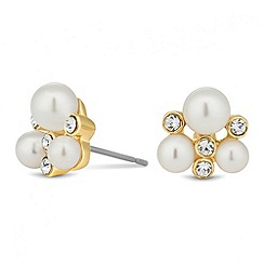 Jon Richard - Mini pearl and crystal gold stud earring