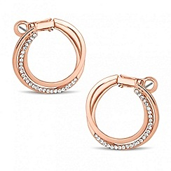 Jon Richard - Rose gold triple row crystal hoop earring