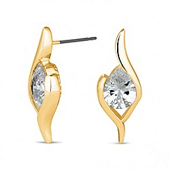 Jon Richard - Cubic zirconia gold swirl stud earring