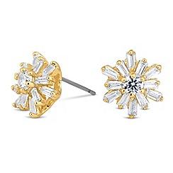 Jon Richard - Cubic zirconia gold floral stud earring