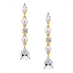 Jon Richard - Cubic zirconia and pearl multi gold drop earring