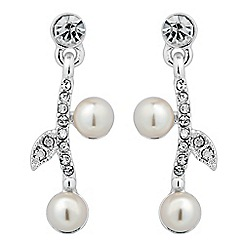 Jon Richard - Pearl and crystal leaf drop earring