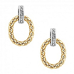 Jon Richard - Textured hoop and crystal disc earring