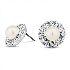 Jon Richard - Pearl crystal surround round stud earring