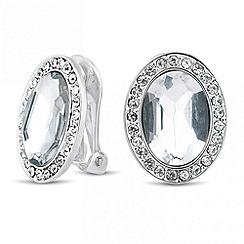 Jon Richard - Oval crystal surround clip on earring