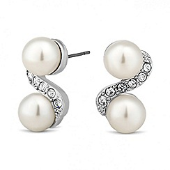 Jon Richard - Pearl and crystal twist stud earring