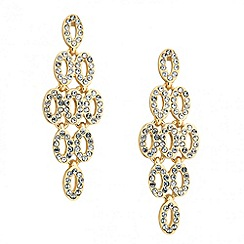 Jon Richard - Crystal encased gold chandelier drop earring