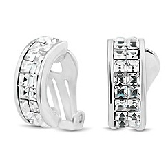 Jon Richard - Mini square crystal encased clip on earring