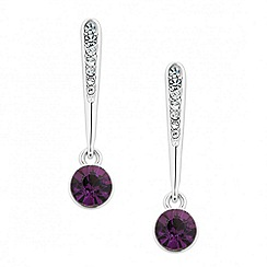 Jon Richard - Crystal stick and purple stone drop earring