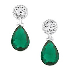Jon Richard - Crystal top green teardrop earring