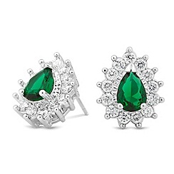Jon Richard - Cubic zirconia surround green teardrop stud earring
