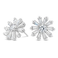 Jon Richard - Baguette surround cubic zirconia flower earring