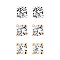 Jon Richard - Set of three round cubic zirconia stud earrings