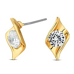 Jon Richard - Cubic zirconia encased gold leaf twist earring