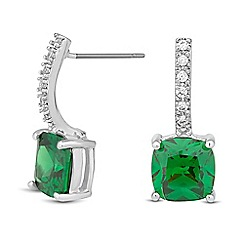 Jon Richard - Green cubic zirconia embellished bar drop earring