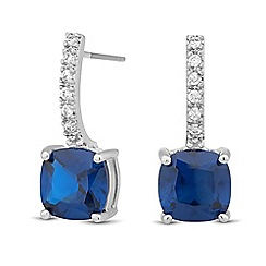 Jon Richard - Blue cubic zirconia embellished bar drop earring