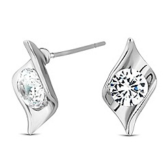 Jon Richard - Cubic zirconia encased silver leaf twist earring