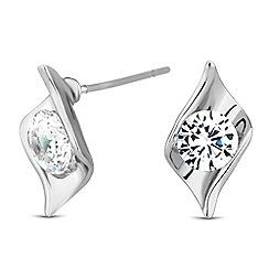 Jon Richard - Cubic zirconia encased silver leaf twist earring