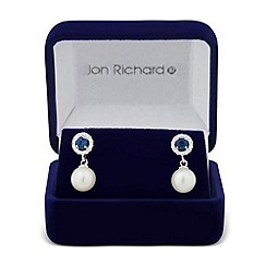 Jon Richard - Clara blue cubic zirconia pearl drop earring