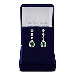 Jon Richard - Green cubic zirconia peardrop surround earring