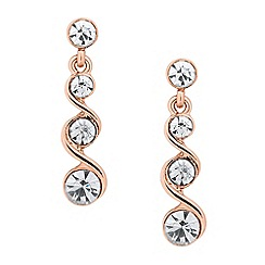 Jon Richard - Rose gold crystal twist drop earring