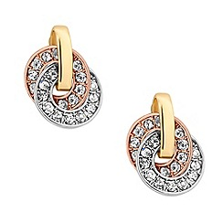 Jon Richard - Triple tone circular crystal link earring