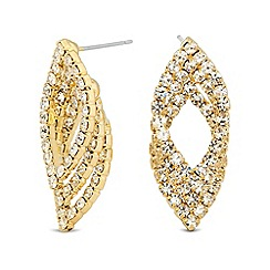 Jon Richard - Diamante crystal triple navette stud earring