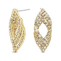 Jon Richard - Diamante crystal triple navette stud earring