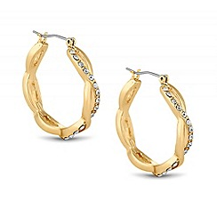 Jon Richard - Crystal encased crossover hoop earring