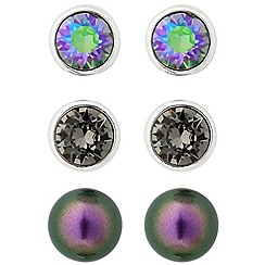 Jon Richard - Multicoloured crystal stud earring set MADE WITH SWAROVSKI ELEMENTS