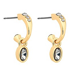 Jon Richard - Crystal encased polished hoop drop earring