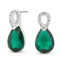 Jon Richard - Crystal top and green peardrop earring